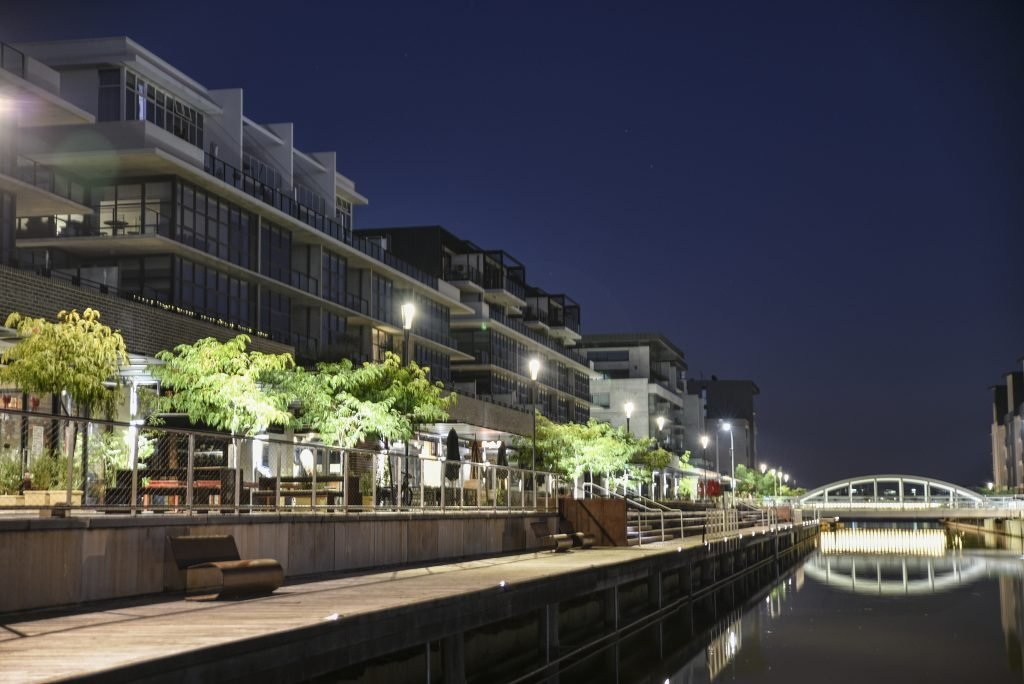 Apartment units next to foreshore in the evening
